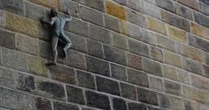 climbing brick wall