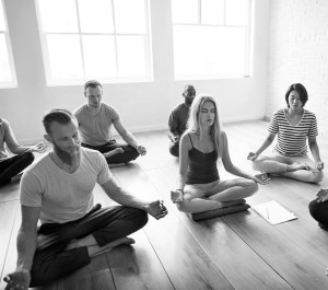 people_meditating black and white